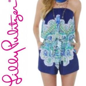 Lilly Pulitzer Navy/Multi Colleen Romper Sz: M
